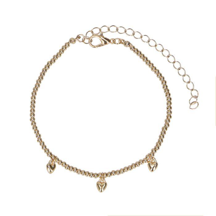 Bracelet avec petits cœurs - doré