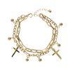 Double bracelet avec petites breloques - doré