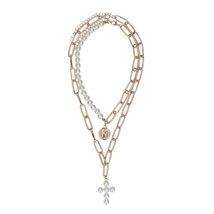Collier double avec perles - doré