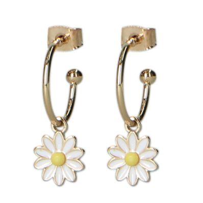 Boucles d'oreille avec pendentif marguerite - doré