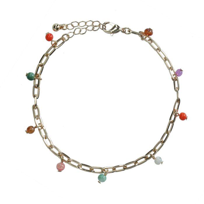 Bracelet de cheville avec perles colorées - doré