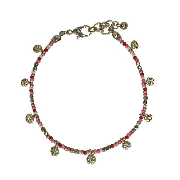 Bracelet avec petites pièces dorées - multicolore
