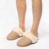 Beigefarbene Veloursleder-Pantoffeln