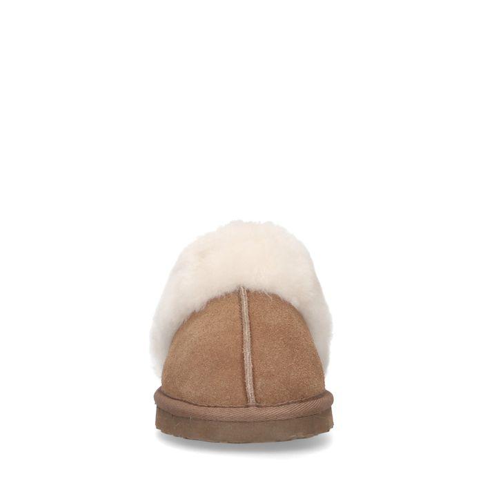 Cognacfarbene Veloursleder-Pantoffeln