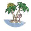 Patch mit Insel und Flamingo