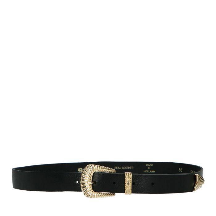 Schwarzer Ledergürtel mit goldenen Details
