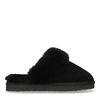 Schwarze Veloursleder-Pantoffeln