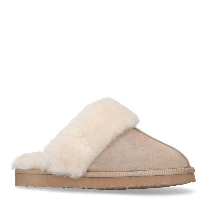 Beige suède pantoffels met schapenvacht