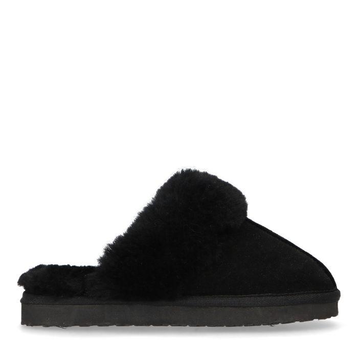 Zwarte suède pantoffels met schapenvacht