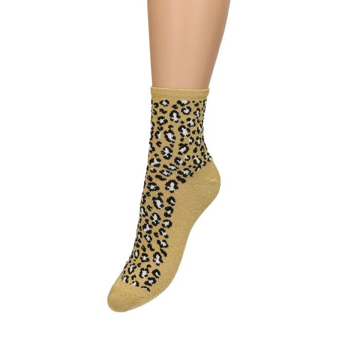 Goldene Glitzer-Socken mit Leopardenmuster
