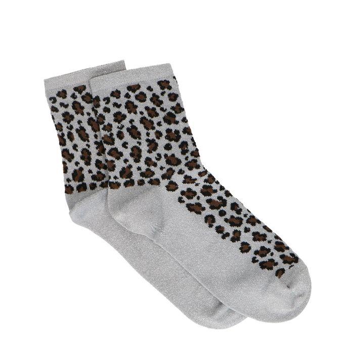Silberne Glitzer-Socken mit Leopardenmuster