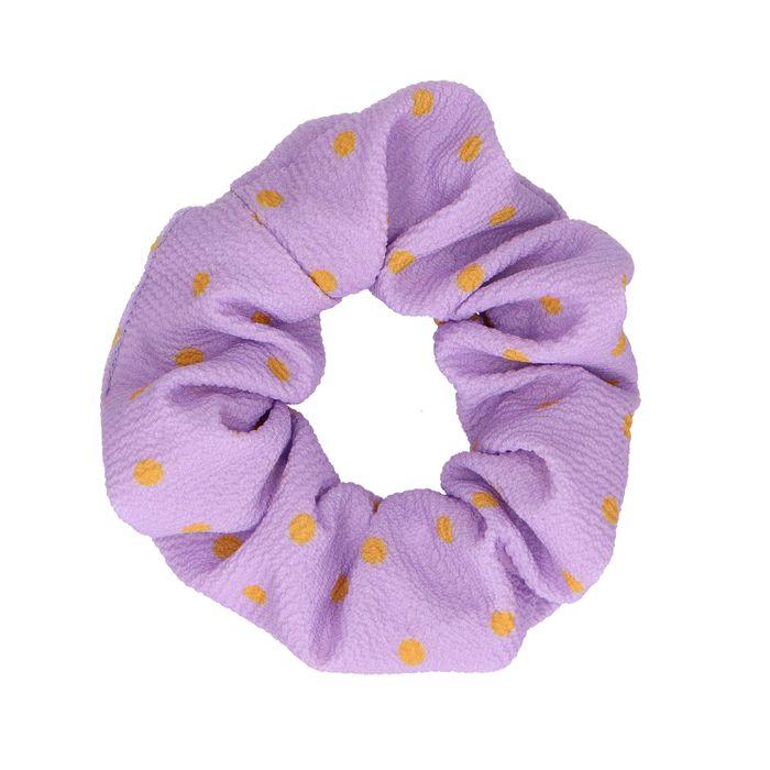 Paarse scrunchie met oranje dots