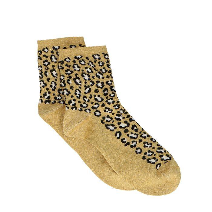 Gouden glitter sokken met panterprint