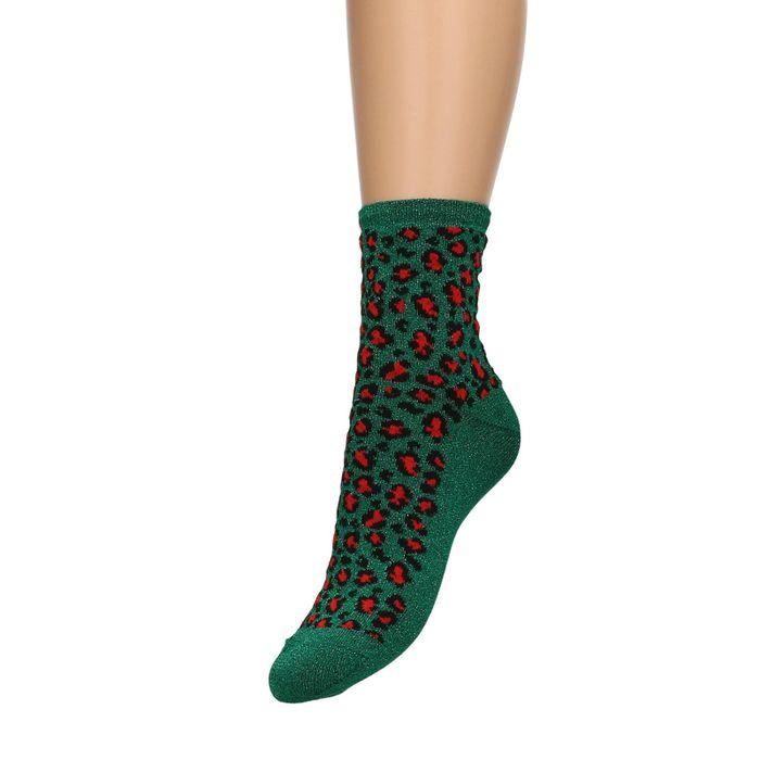 Groene glitter sokken met panterprint