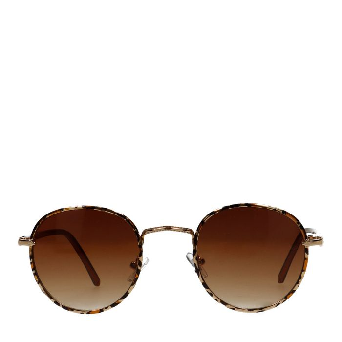 Ronde zonnebril met panterprint
