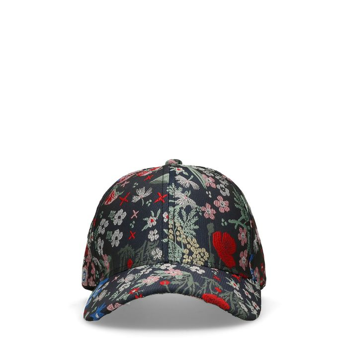 Schwarze Cap mit Blumenmuster