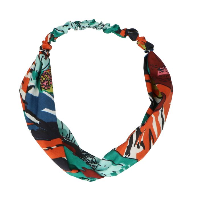 Grün-orangefarbenes Haarband mit Muster