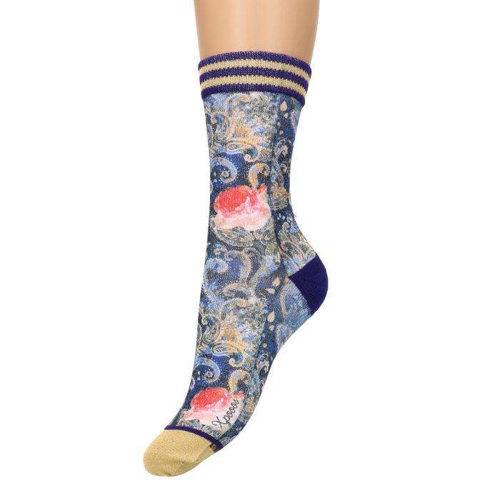 XPOOOS blaue Socken mit Blumenmuster