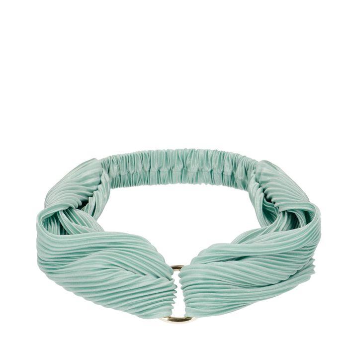 Mint plissé haarband met ring