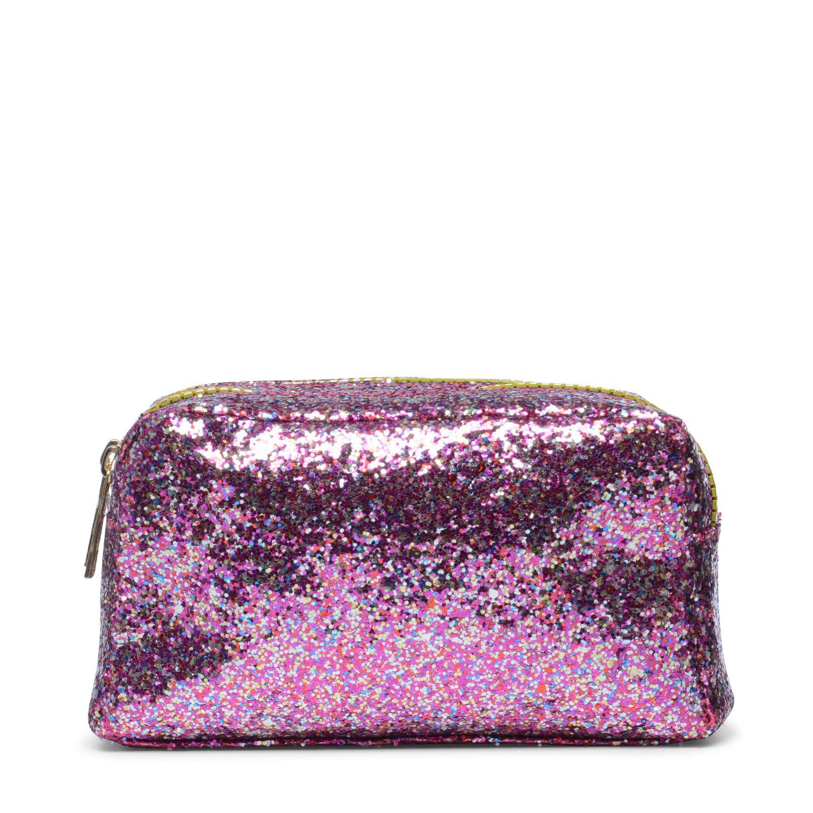 Toilettasje roze met glitters