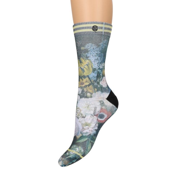 XPOOOS bloemenprint sokken groen