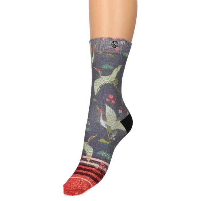 XPOOOS glitter sokken met vogels en bloemen