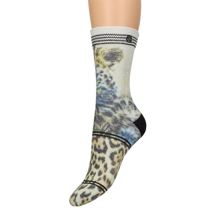XPOOOS panterprint glitter sokken