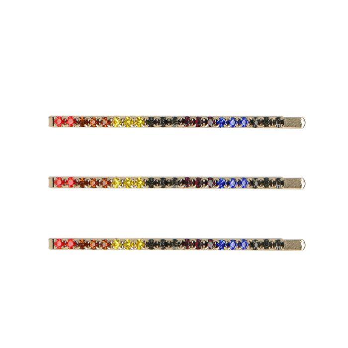 Goudkleurige haarclips met gekleurde steentjes