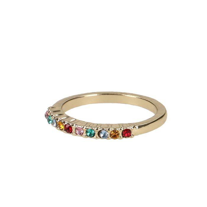 Goudkleurige ring met gekleurde steentjes