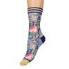 XPOOOS Chaussettes avec imprimé fleuri - bleu