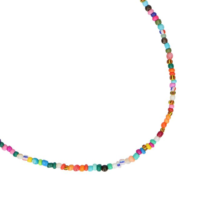 Collier avec perles multicolores