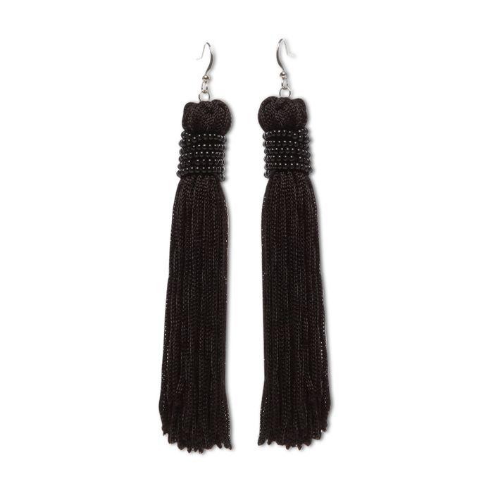 Boucles d'oreille longues avec franges noires