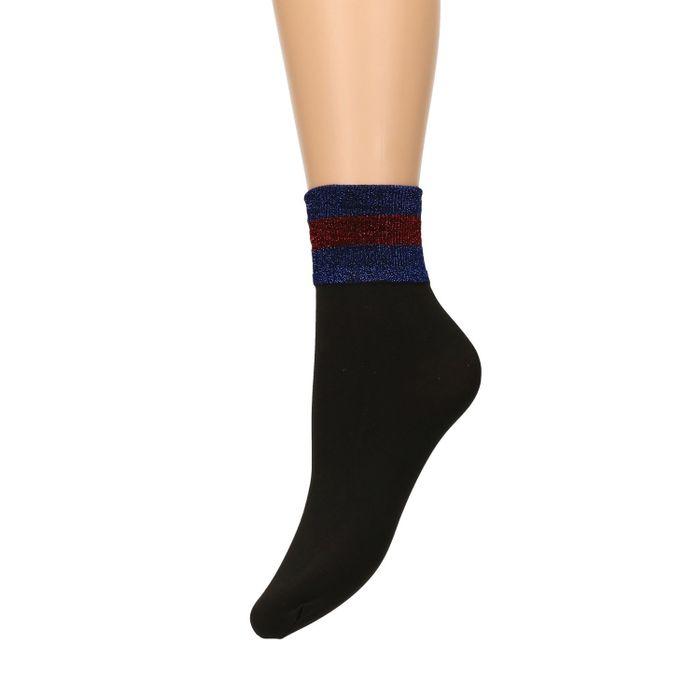 Chaussettes avec bord pailleté bleu/rouge - noir