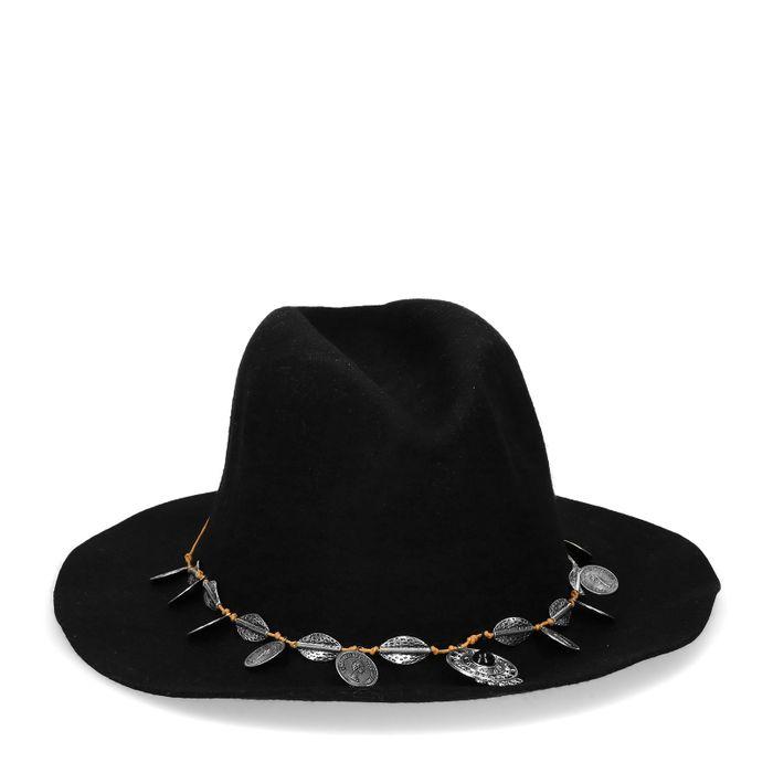Chapeau style western avec pièces - noir