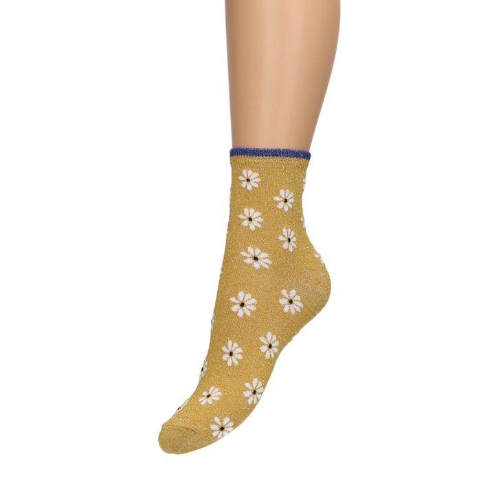 Gelbe Glitzer-Socken mit Blumen