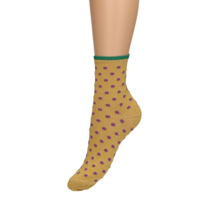Chaussettes pailletées à pois - jaune