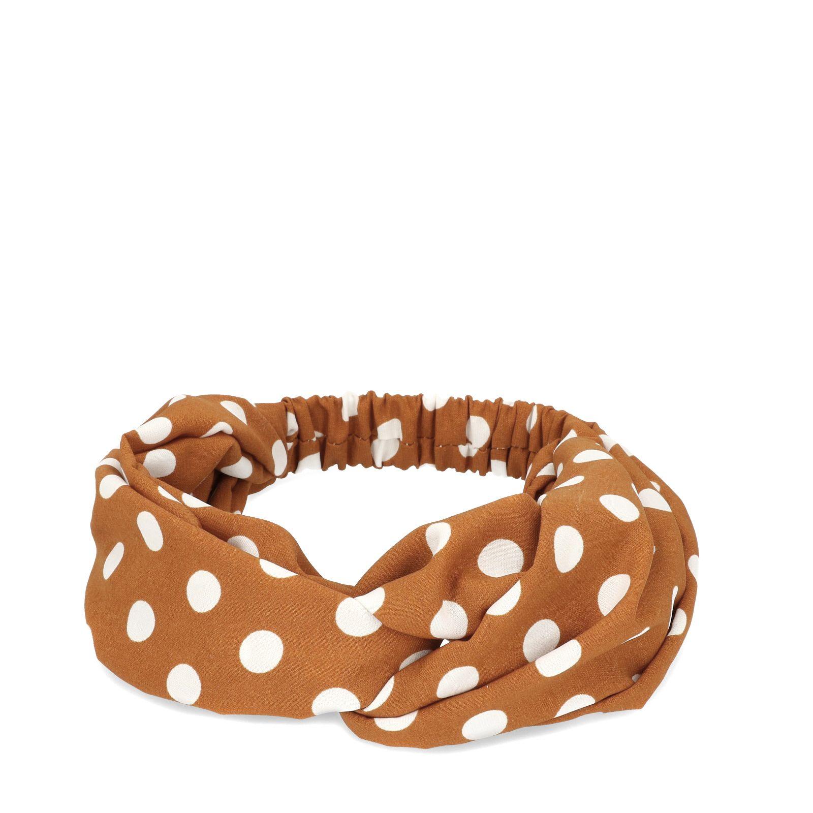 Roestbruine haarband met witte dots