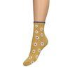 Gele glitter sokken met bloemen