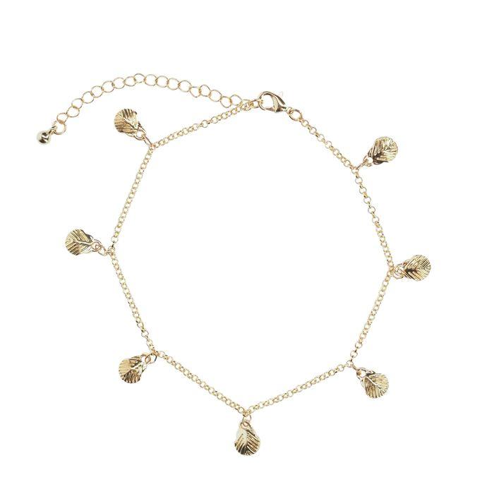 Bracelet de cheville avec petits coquillages - doré