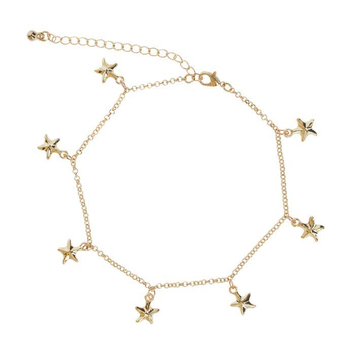 Bracelet de cheville avec étoiles de mer - doré