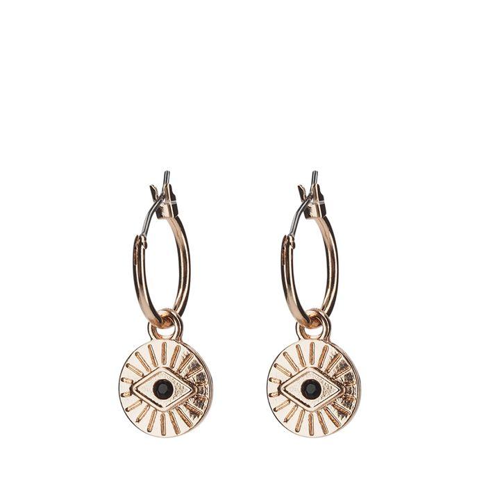 Boucles d'oreille avec pendentif rond - rose