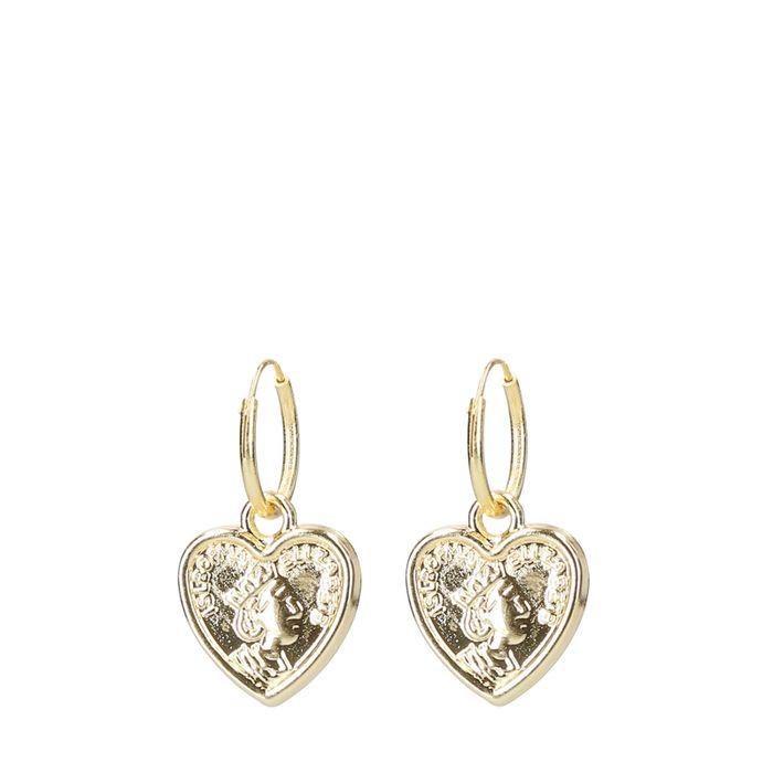 Boucles d'oreille avec pendentif en forme de cœur - doré