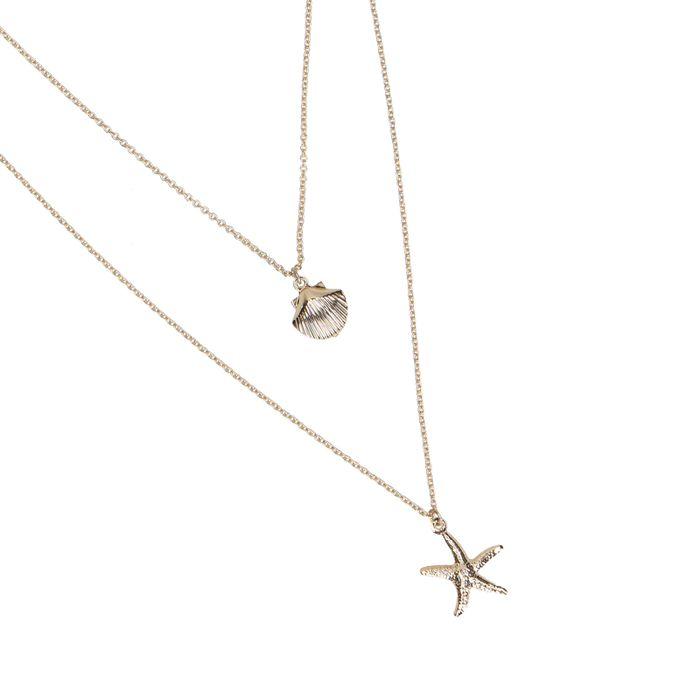 Collier avec petit coquillage et étoile de mer - doré