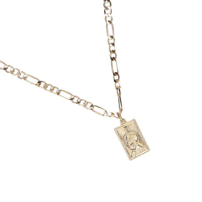 Collier avec pendentif carré - doré