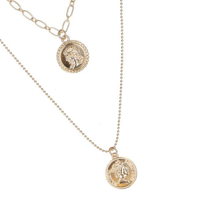 Collier double avec petites pièces - doré