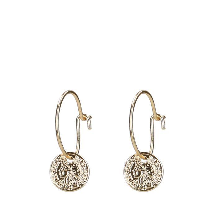 Boucles d'oreille avec petite pièce - doré