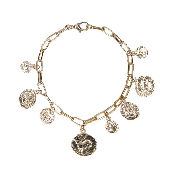 Bracelet de couleur or avec pièces de monnaie