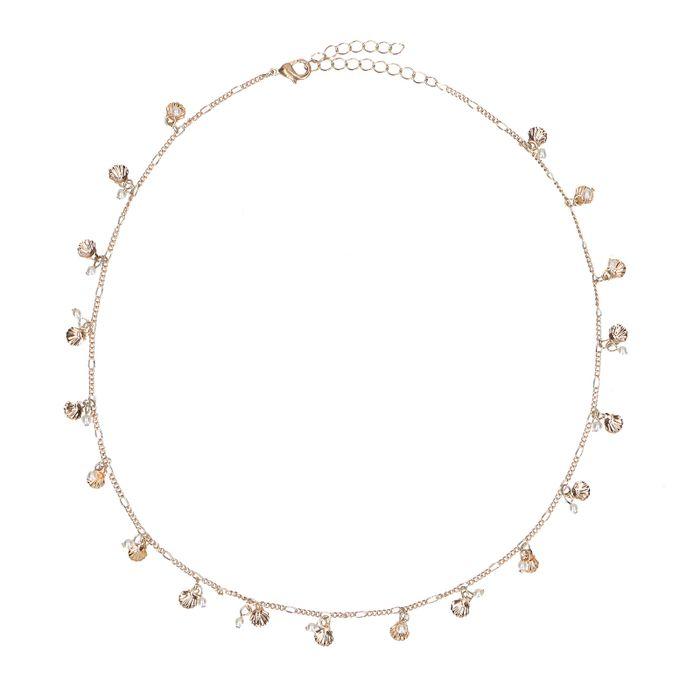Collier avec coquillages et perles - doré