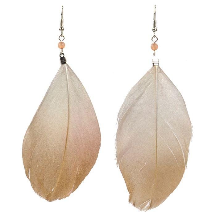 Boucles d oreille à plumes dorées