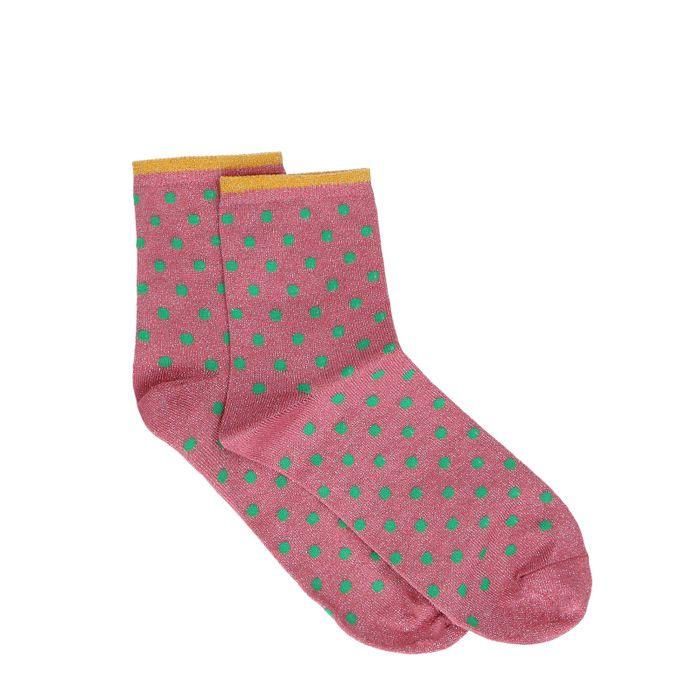 Roze glitter sokken met stippen
